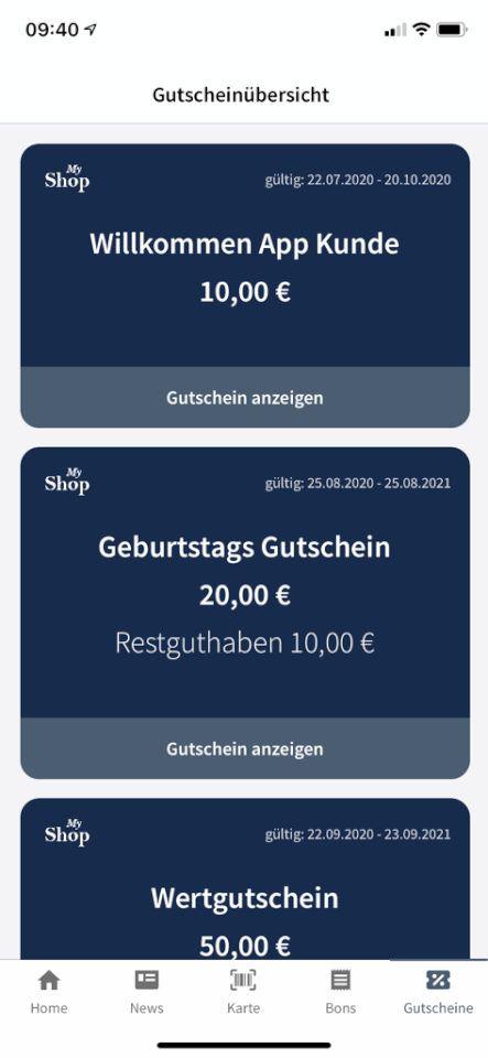 Gutscheinübersicht - Customer Wallet