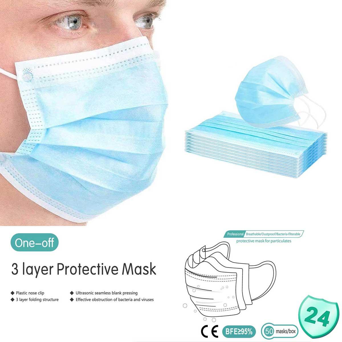 250 zertifizierter Mundschutz 3-lagig, MNS Atemschutz Einwegmaske