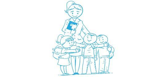 Zeichnung einer Lehrkaft mit ihren drei Schülern, die sie umarmen und sich nach der Nachhilfe freuen
