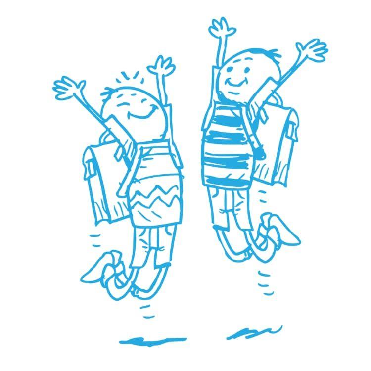 Zeichnung von zwei vor Freude springenden Schüler mit Schulranzen nach einer erfolgreichen Förderung