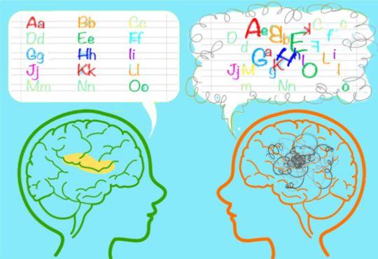 In zwei Köpfen sind die Gehirne skizziert und in Sprechblasen sind Buchstaben dargestellt, die Legasthenie symbolisieren