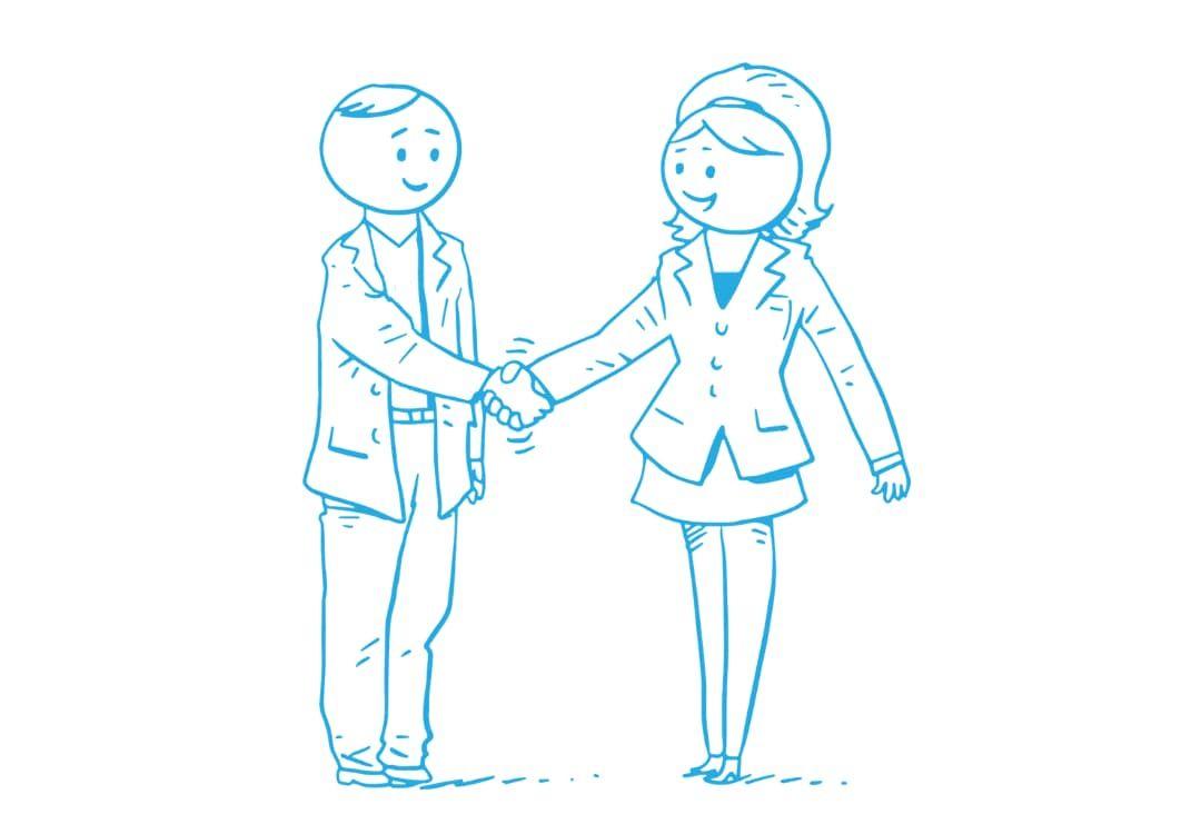 Zeichnung einer Begrüßungsituation eines Bewerbungsgesprächs für einen Job im Lernforum