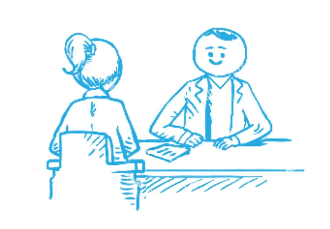 Zeichnung einer Situation aus dem Bewerbungsgespräch als Lerntherapeut:in im Lernforum