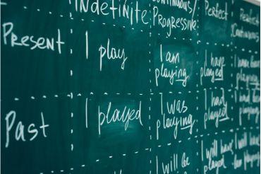 Englisch-Aufschrieb einer Lehrkraft an der Tafel zur Erklärung englischer Grammatik von der Mittelstufe