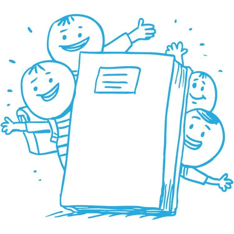 Zeichnungen von vier Schülern aus der Unterstufe, die hinter einem großen Schulbuch hervorschauen