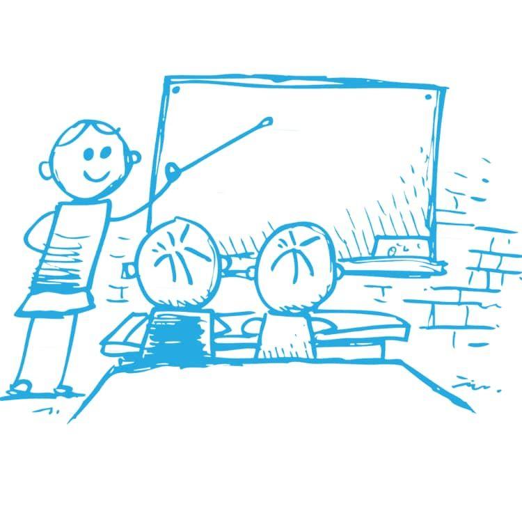 Zeichnung einer Schulsituation mit einer Lehrerin und zwei Schülern vor einer Tafel