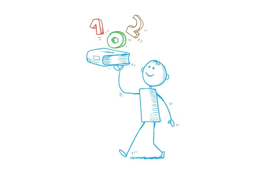 Zeichnung eines Schülers, der sein Schulbuch als Tablet mit 102 benutzt