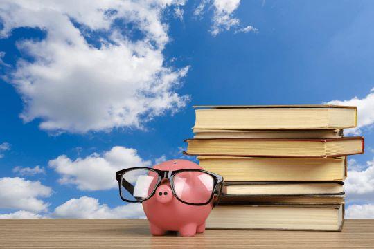 """Sparschwein platziert vor Schulbüchern als Symbol für das Sparangebot """"100 € Rabatt"""""""