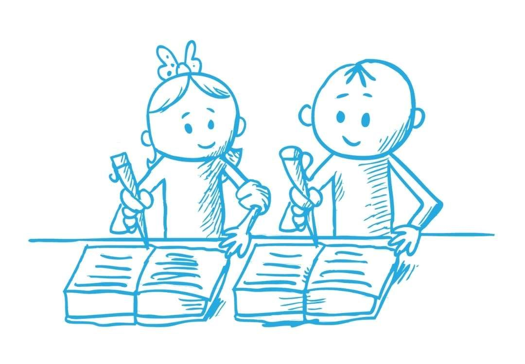 Zeichnung von zwei Schülern, die in ihre Schulhefte im Nachhilfe-Unterricht schreiben