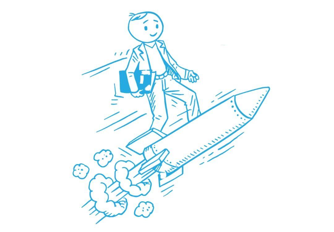 Zeichnung eines kreativen Schülers mit Schulheft auf einer fliegenden Rakete auf dem Weg nach oben