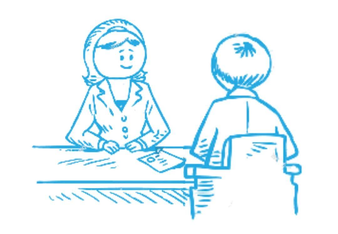 Zeichnung einer Situation aus dem Bewerbungsgespräch als Nachhilfe-Lehrkraft im Lernforum