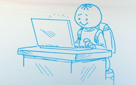 Zeichnung eines Lernforum-Schülers mit Schulranzen vor einem Laptop während der Online-Nachhilfe