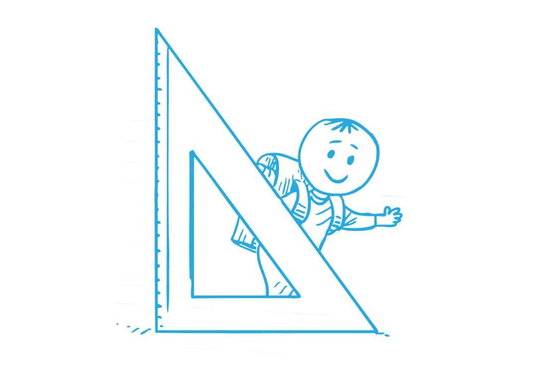 Zeichnung eines Grunschülers mit Schultasche hinter einem großem Dreieck-Lineal