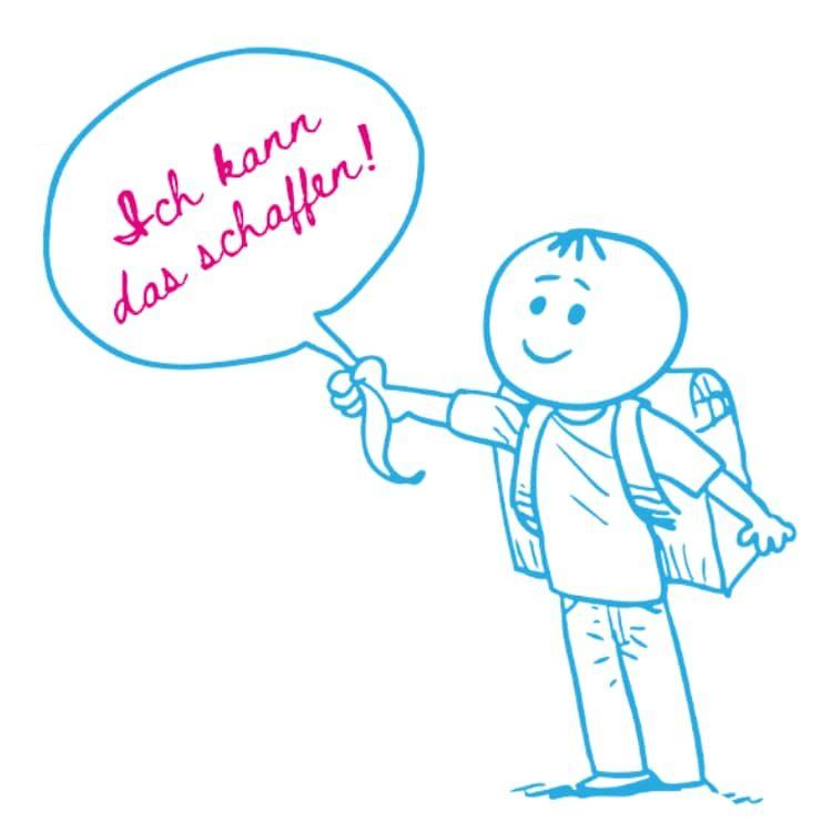 """Zeichnung eines Grundschülers mit einem Luftballon in der Hand auf dem steht """"Ich kann das schaffen"""""""