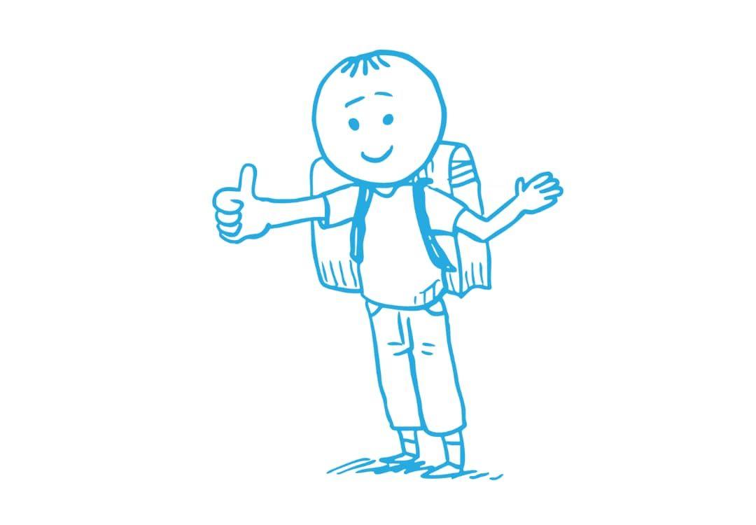 """Zeichnung eines Schülers mit Schulranzen und einem """"Daumen hoch"""""""