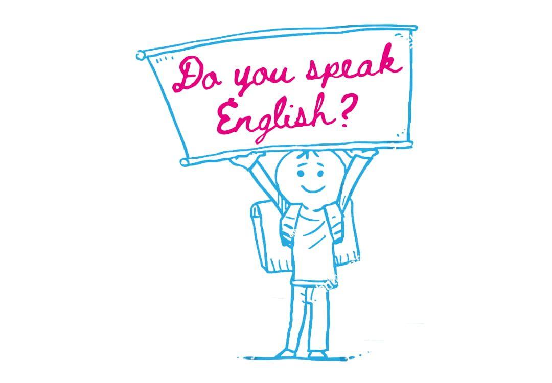 """Zeichnung eines Schülers mit einem Schild, auf dem """"Do you speak English?"""" steht"""